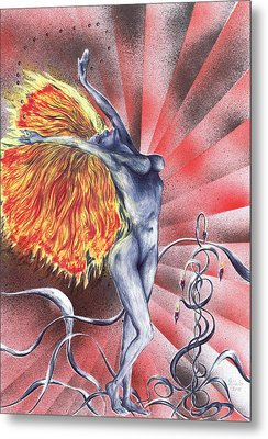 Metal Print featuring the mixed media Inferno by Kenneth Clarke