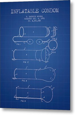 Inflatable Condom Patent From 1981 - Blueprint Metal Print by Aged Pixel