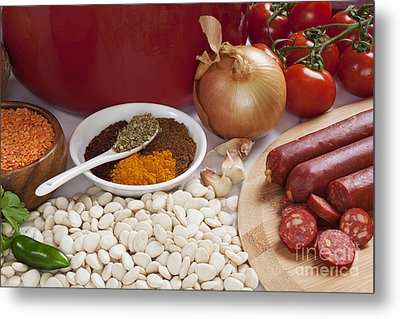 Ingredients For Spanish Chorizo Soup Metal Print by Colin and Linda McKie