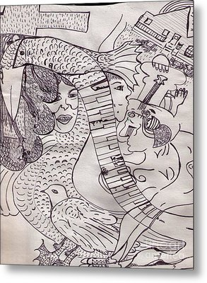 Ink Art To Color 3 Metal Print by Lois Picasso