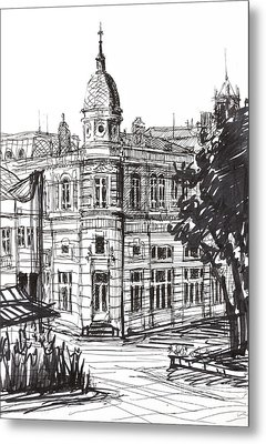 Ink Graphics Of An Old Building In Bulgaria Metal Print by Kiril Stanchev