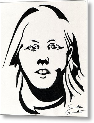 Ink Portrait Metal Print