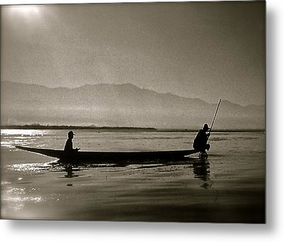 Inle Fishermen Metal Print by Kim Pippinger