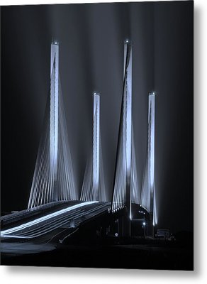 Inlet Bridge Light Trails In Cyan Metal Print by William Bartholomew