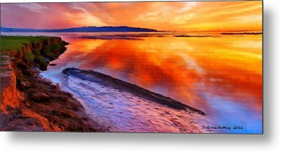 Metal Print featuring the painting Inlet Sunset by Bruce Nutting