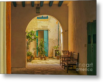 Inner Courtyard In Caribbean House Metal Print