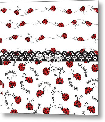 Innocent Ladybugs  Metal Print by Debra  Miller