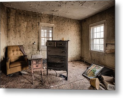 Inside Abandoned House Photos - Old Room - Life Long Gone Metal Print by Gary Heller