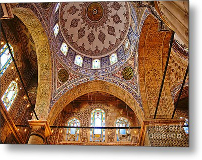 Inside The Blue Mosque Metal Print by MaryJane Armstrong
