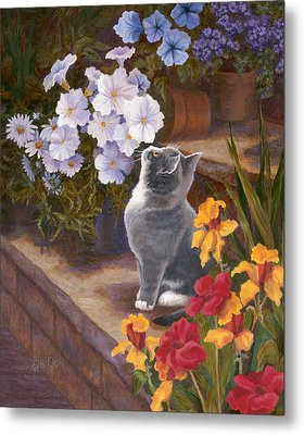 Inspecting The Blooms Metal Print