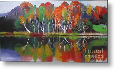 Metal Print featuring the painting Inspiration Autumn Evening by Art Ina Pavelescu