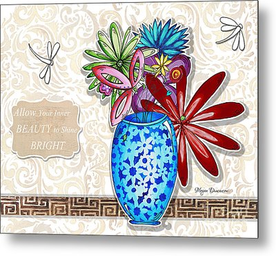 Inspirational Floral Dragonfly Painting Flower Vase With Quote By Megan Duncanson Metal Print by Megan Duncanson
