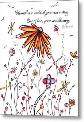 Inspirational Floral Ladybug Dragonfly Daisy Art With Uplifting Quote By Megan Duncanson Metal Print by Megan Duncanson