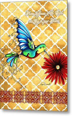 Inspirational Hummingbird Art Gold Red Turquoise Pattern Quote By Megan Duncanson Metal Print by Megan Duncanson