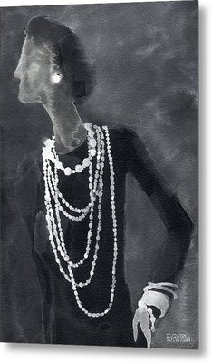 Inspired By Chanel Fashion Illustration Art Print Metal Print by Beverly Brown