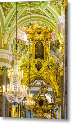 Interior - Cathedral Of Saints Peter And Paul - St Petersburg Russia Metal Print by Jon Berghoff
