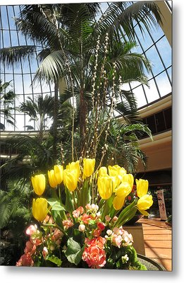 Metal Print featuring the photograph Interior Decorations Butterfly Gardens Vegas Golden Yellow Tulip Flowers by Navin Joshi