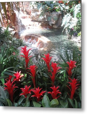 Metal Print featuring the photograph Interior Decorations Water Fall Flowers Lights Shades by Navin Joshi