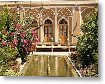 Interior Garden With Pond In Yazd Iran Metal Print