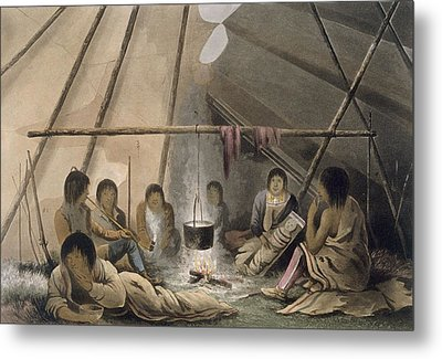Interior Of A Cree Indian Tent, 1824 Metal Print