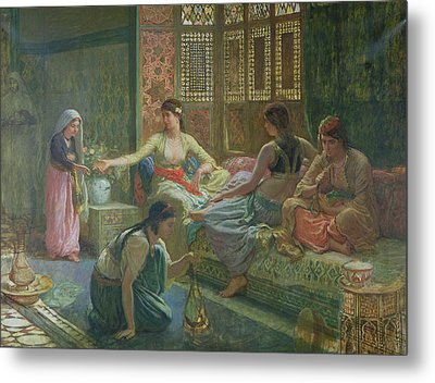 Interior Of A Harem Metal Print by Leon-Auguste-Adolphe Belly