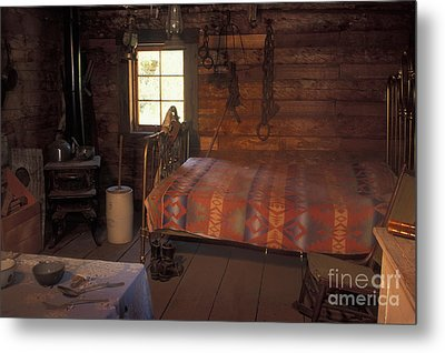 Interior Of A Loggers Cabin Metal Print by Ron & Nancy Sanford