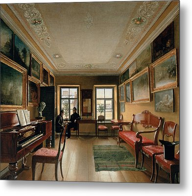 Interior Of A Manor House, 1830s Oil On Canvas Metal Print