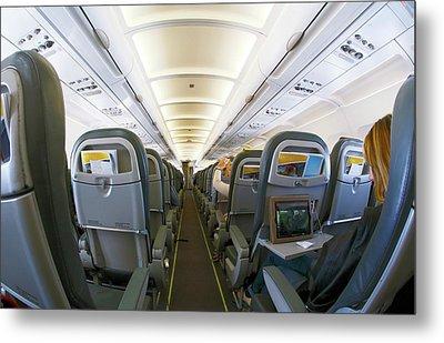 Interior Of A Passenger Airliner Metal Print by Victor De Schwanberg