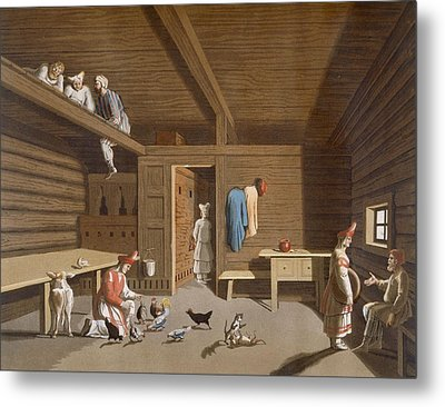 Interior Of A Russian Peasant Home Metal Print