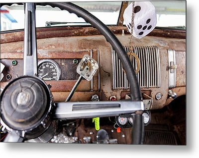 Interior Of An Old Car In A Parade Metal Print