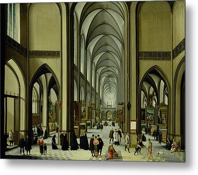 Interior Of Antwerp Cathedral Oil On Canvas Metal Print