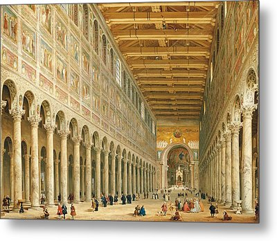 Interior Of San Paolo Fuori Le Mura Metal Print by Giovanni Paolo Panini