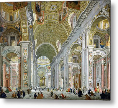 Interior Of St Peters In Rome Metal Print by Giovanni Paolo Panini