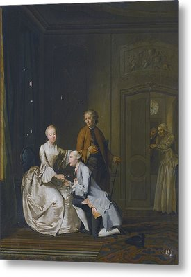 Interior Scene With A Lady And Two Suitors Metal Print