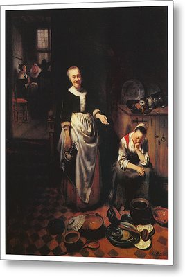 Interior With A Sleeping Maid And Her Mistress Metal Print by Nicolaes Maes