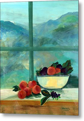 Interior With Window And Fruits Oil & Acrylic On Canvas Metal Print
