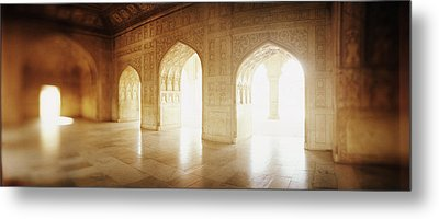 Interiors Of A Hall, Agra Fort, Agra, Uttar Pradesh, India Metal Print by Panoramic Images