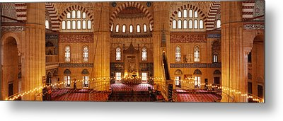 Interiors Of A Mosque, Selimiye Mosque Metal Print by Panoramic Images