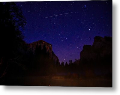 International Space Station Over Yosemite National Park Metal Print