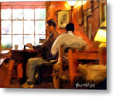 Metal Print featuring the painting Internet Coffee House by Ted Azriel