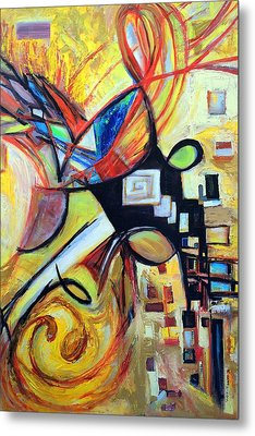 Metal Print featuring the painting Intersections by Mary Schiros