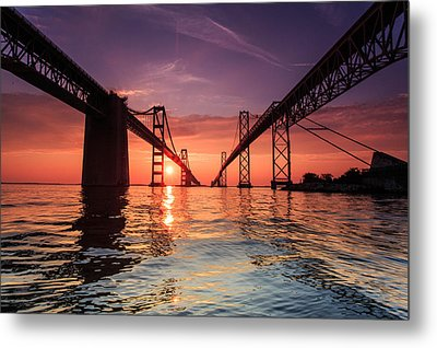 Into Sunrise - Bay Bridge Metal Print by Jennifer Casey