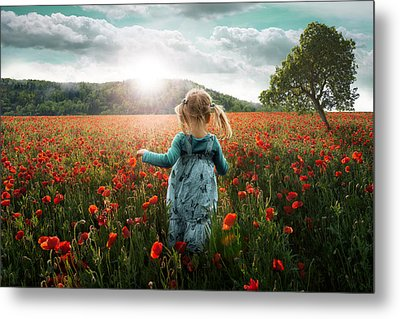 Into The Poppies Metal Print