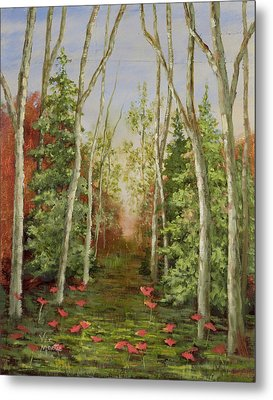 Metal Print featuring the painting Into The Woods Series-cedar by Vic  Mastis