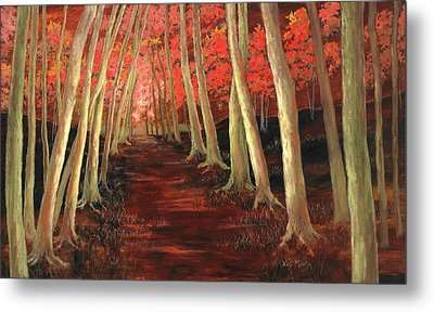 Metal Print featuring the painting Into The Woods Series-orange by Vic  Mastis