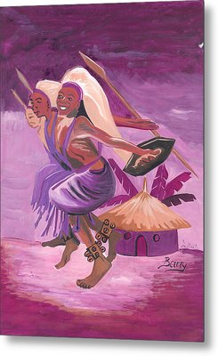 Metal Print featuring the painting Intore Dance From Rwanda by Emmanuel Baliyanga