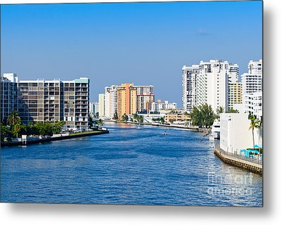 Intracoastal Waterway In Hollywood Florida Metal Print