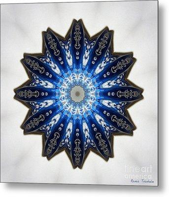 Intricate Shades Of Blue Metal Print by Renee Trenholm