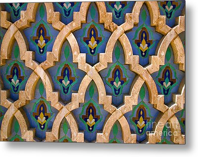 Intricate Zelji At The Hassan II Mosque Sour Jdid Casablanca Morocco Metal Print by Ralph A  Ledergerber-Photography