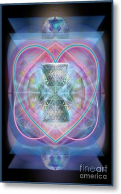 Intwined Hearts Chalice Wings Of Vortexes Radiant Deep Synthesis Metal Print by Christopher Pringer